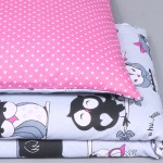 Divpusējs gultas veļas komplekts  Rozā pūce Satīna palagi TavsSapnis